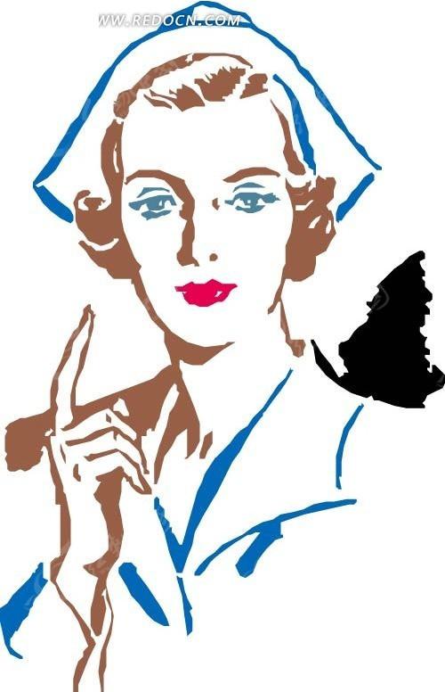 手绘竖起十指的红唇美女