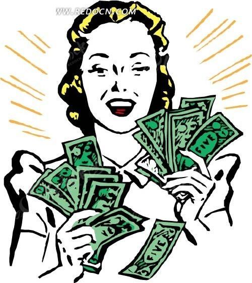 手绘拿着大把钞票的女人