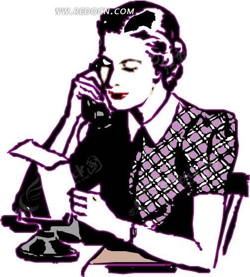 手绘打电话的女士