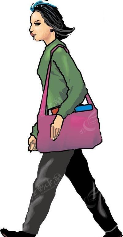 背着书包走路的女人矢量图