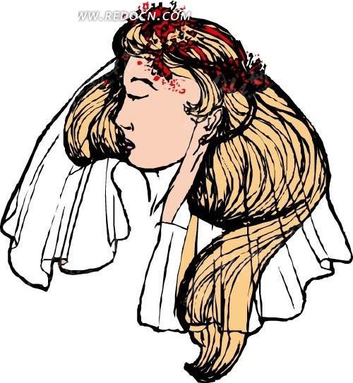 长发戴白色头纱的女人