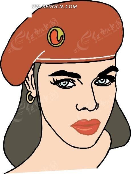 手绘戴红色小帽子的女士头像