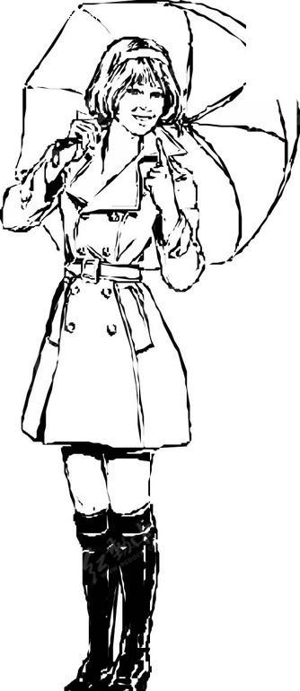 手绘撑伞女孩图片