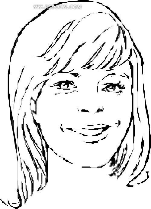 长发女人头像白描图