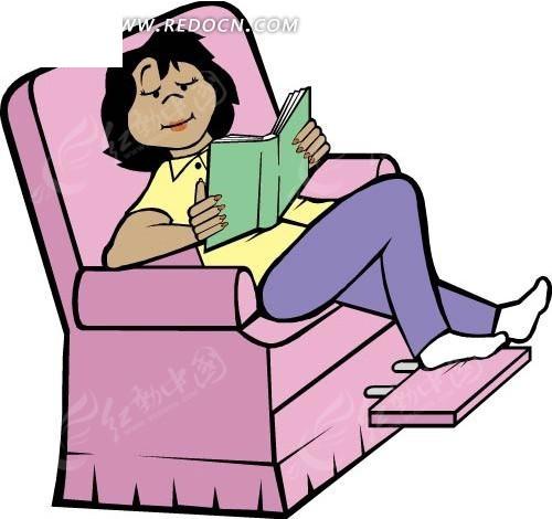 躺着沙发上看书的人物