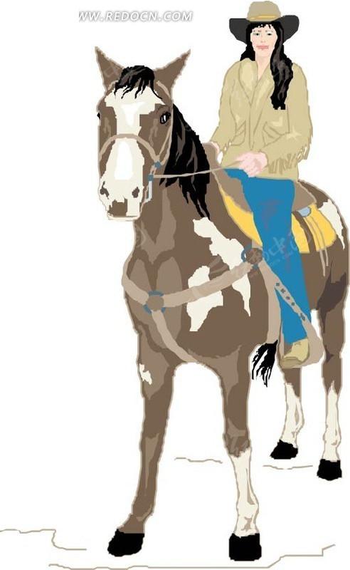 手绘骑马的美女