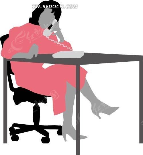 手绘翘腿坐着打电话的女士图片