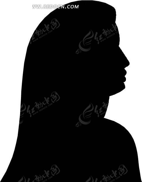 人物剪影-长发美女头像