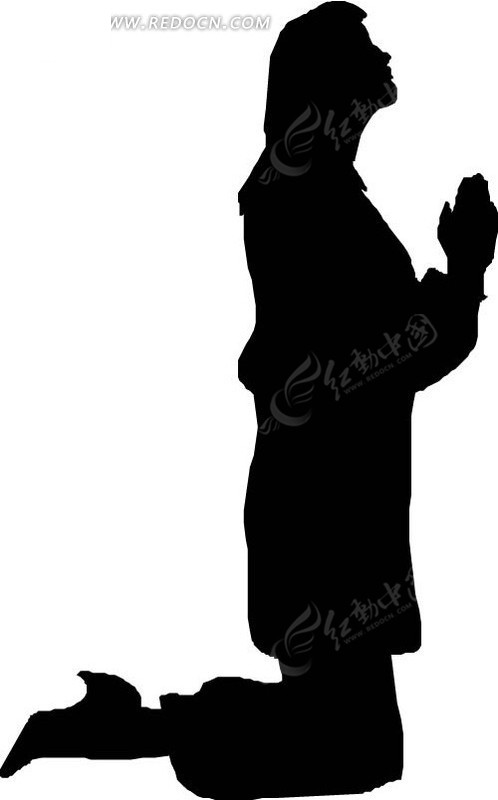 手绘跪着祷告的人物剪影