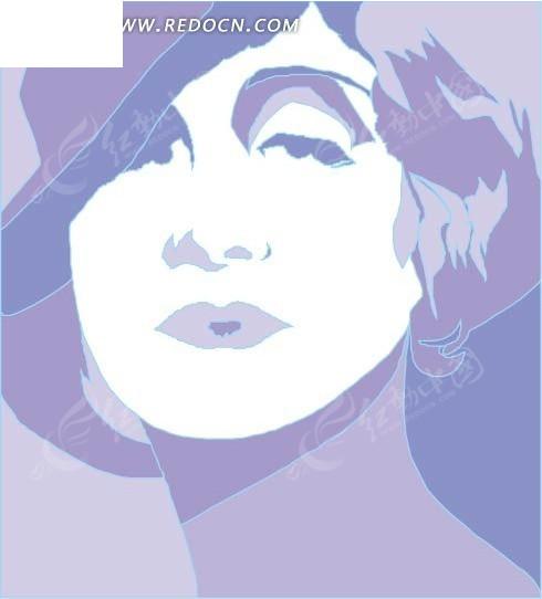 免费素材 矢量素材 矢量人物 女性女人 手绘女士头像