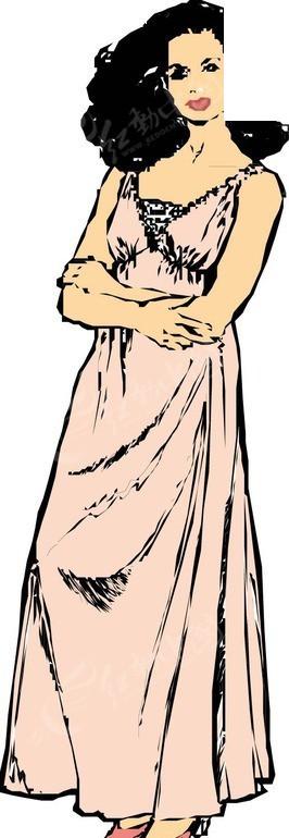 穿着长裙的美女矢量图