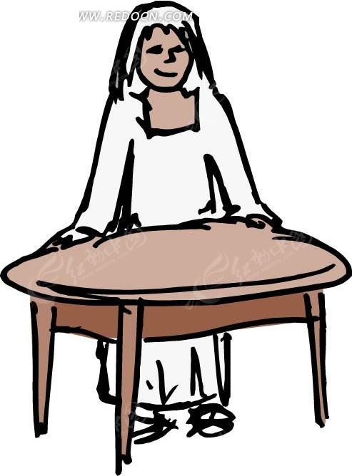 手绘桌子边上的美女