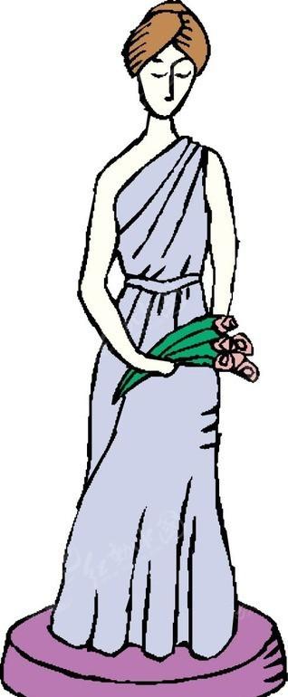 手绘拿着鲜花的希腊美女矢量图_女性女人