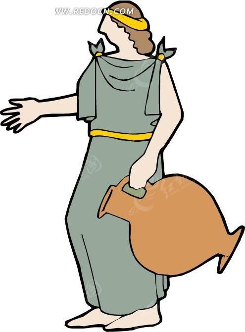 手绘拿着水瓶的古罗马人