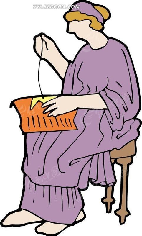 手绘坐着缝补东西的女人