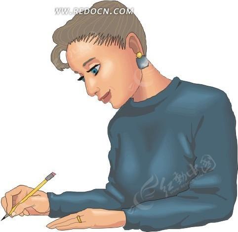 手绘写字卡通人物