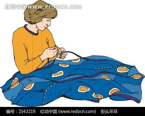 缝衣服的卡通人物矢量图_职业人物