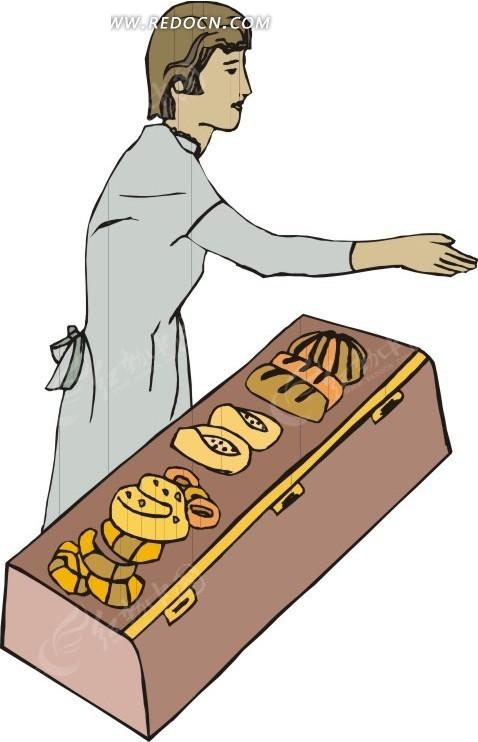 销售面包的卡通人物