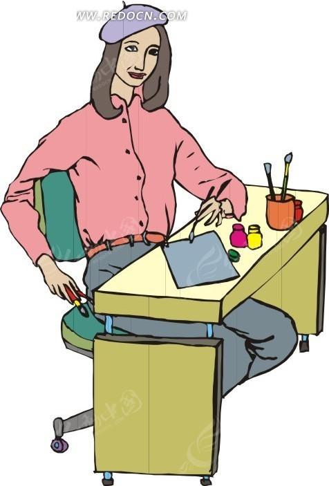 手绘坐在桌子边上的艺术青年