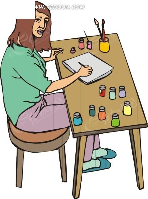 学生绘画矢量图_职业人物