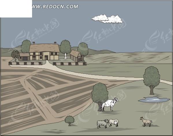 手绘田野上的牛羊和房屋