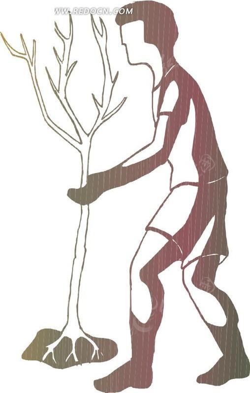手绘种树的男人