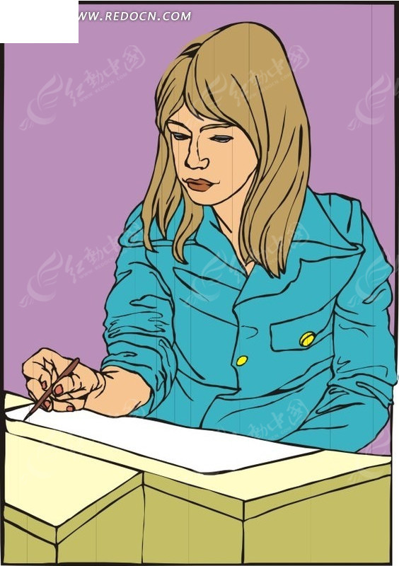工作女卡通图片