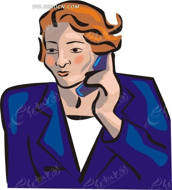 免费素材 矢量素材 矢量人物 职业人物 身穿西装正在打电话的卡通商务