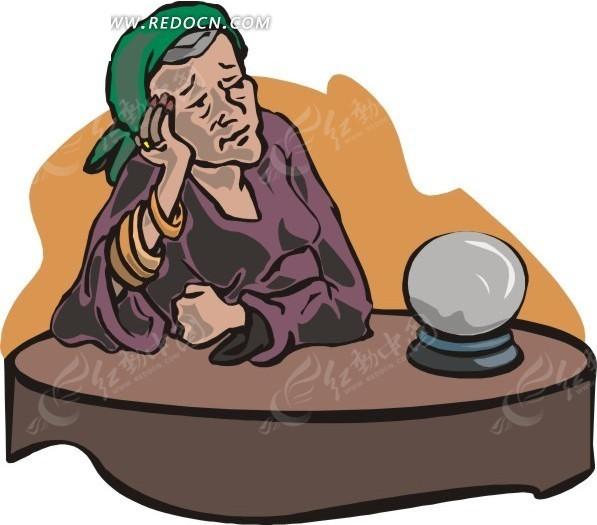 手绘卡通画-看着水晶球的女巫