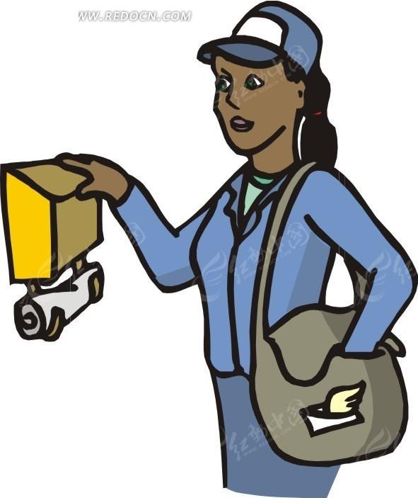手绘卡通画-女邮递员