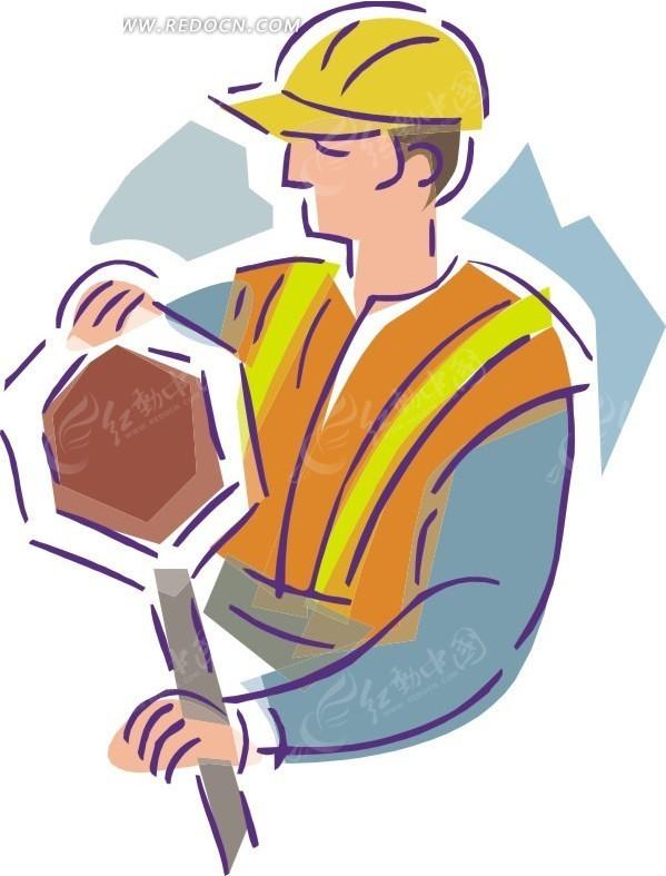 手绘卡通画-工人矢量图