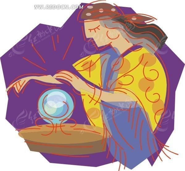手绘卡通画-女巫