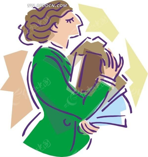 手绘卡通人物-抱东西的女人