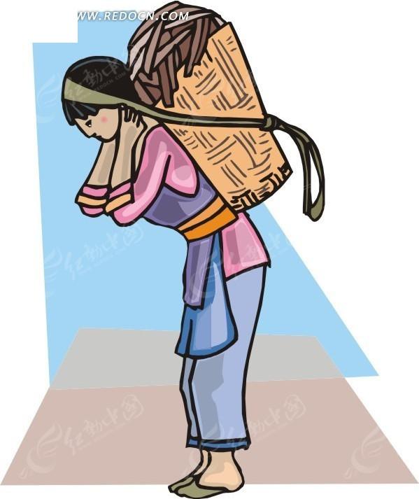 手绘背竹篓的苗族姑娘