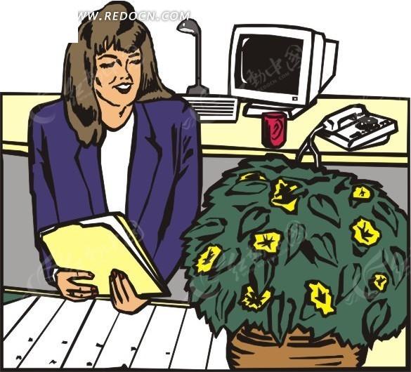 手绘花盆前拿着文件夹的女人