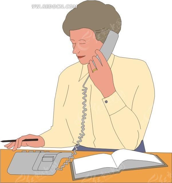 矢量 矢量素材 矢量人物 人物素材 女人女性 插画 卡通 打电话 生活