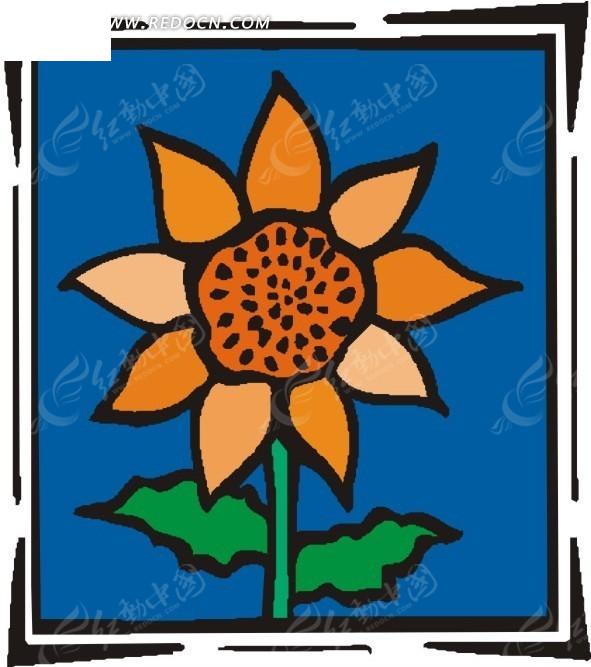 手绘向日葵 手绘 向日葵 eps素材 矢量 矢量素材 插画 卡通