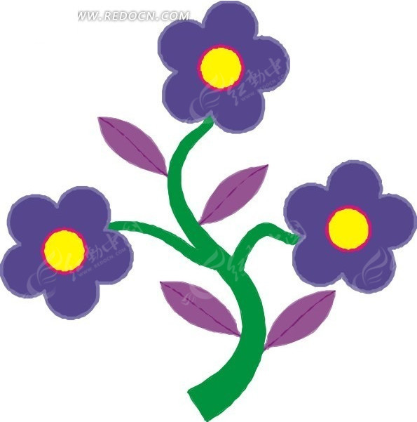 蓝色花朵卡通画矢量图 花草树木