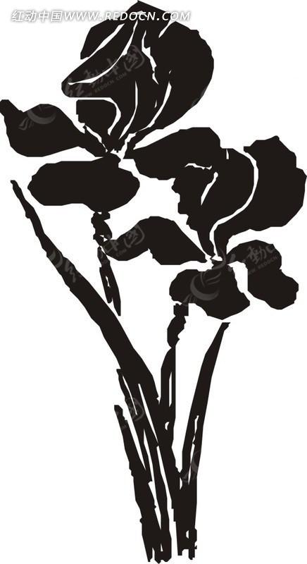 两株花朵黑白矢量图EPS素材免费下载 编号1545001 红动网