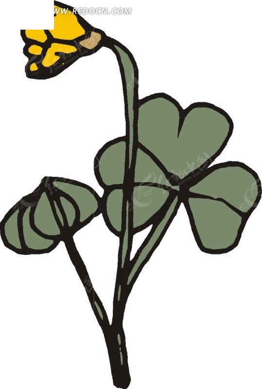 黄色手绘花朵和墨绿色叶子