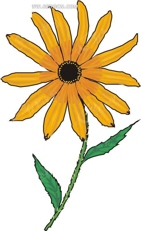 黄色手绘小花和绿叶