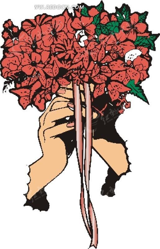 手绘捧着花的手