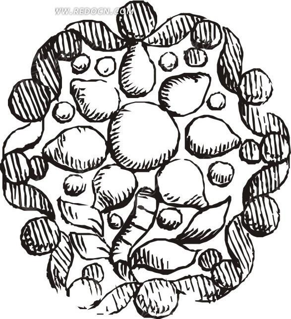 手绘叶子和果子围成的圆形