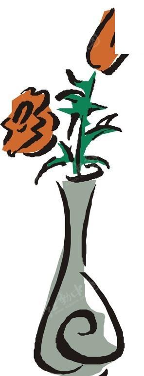 手绘蓝色花瓶里的玫瑰花图片