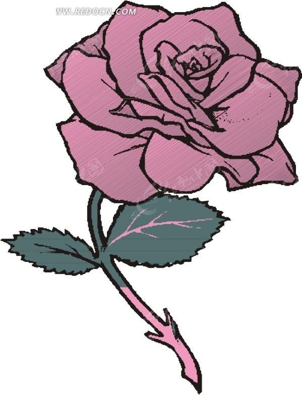 手绘紫色玫瑰花EPS素材免费下载 编号1545251 红动网图片