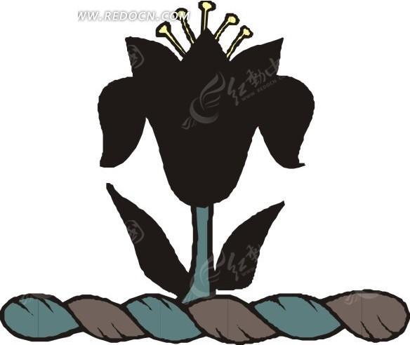手绘黑色花朵