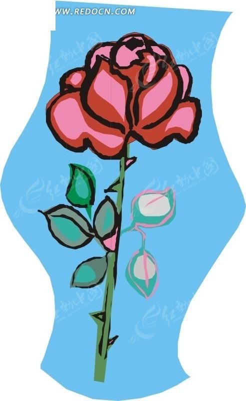 手绘红色月季花