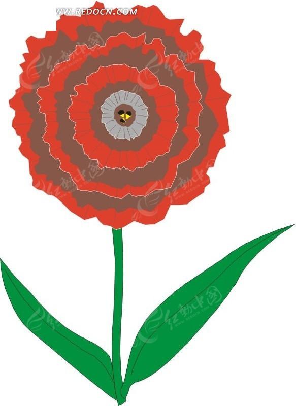 红色手绘花朵和绿叶