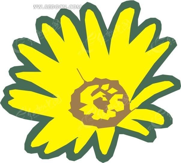 手绘黄色非洲菊花朵