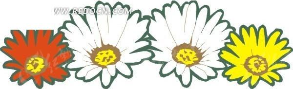 手绘四朵非洲菊